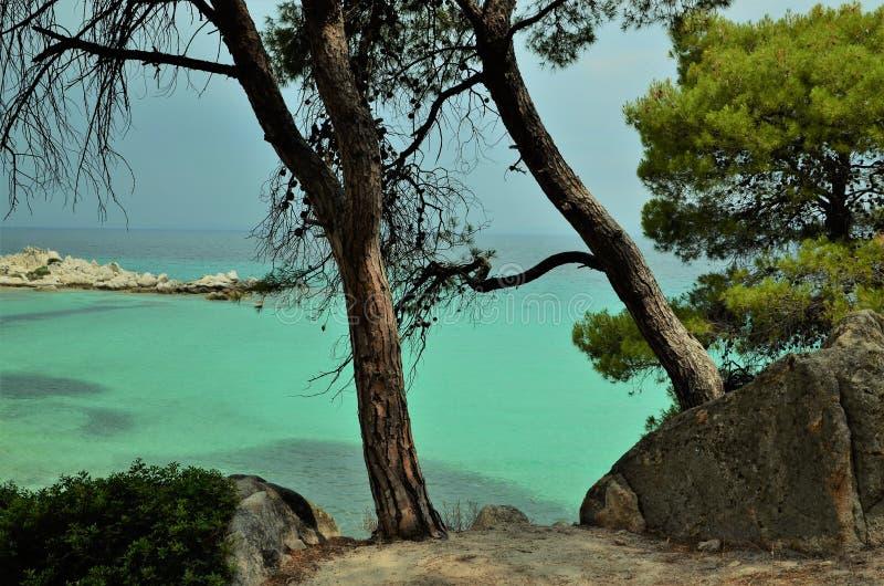 Praia grega o mar imagem de stock