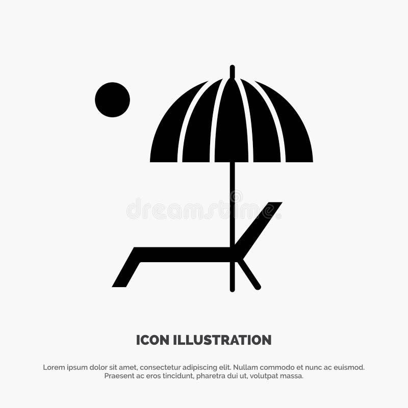 A praia, guarda-chuva, banco, aprecia, vetor contínuo do ícone do Glyph do verão ilustração do vetor