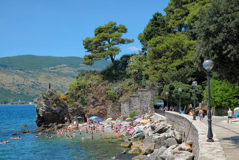 Praia Herceg Novi, Montenegro fotos de stock royalty free