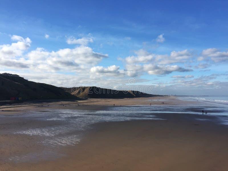 Praia Inglaterra do leste norte de Saltburn fotos de stock