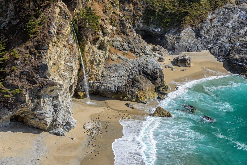 Praia Julia Pfeiffer e quedas de McWay, Big Sur imagem de stock