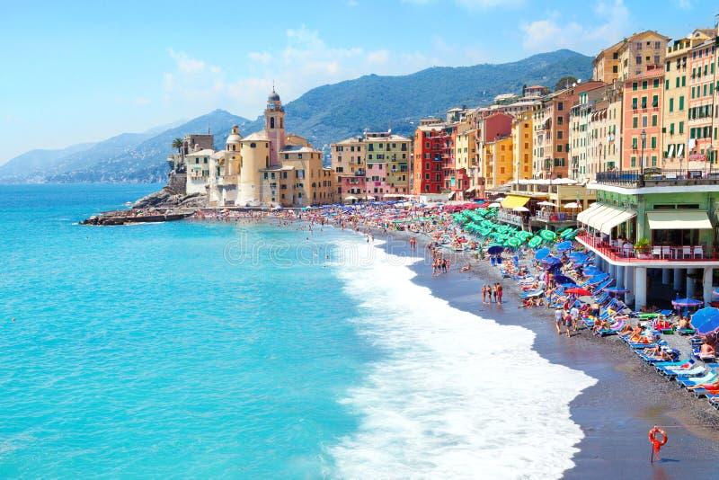 Praia liguria Italia de Camogli imagem de stock