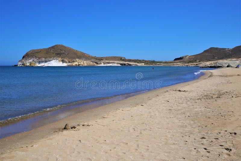 Praia Los Genoveses de Nijar, Almeria imagem de stock