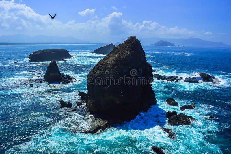Praia maravilhosa Jember de Papuma fotografia de stock