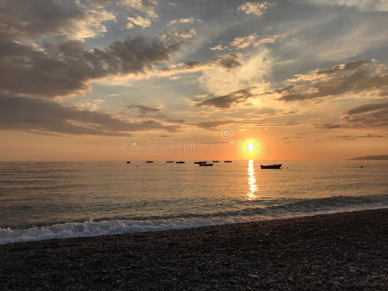 Praia a Mare Sunset arkivbilder