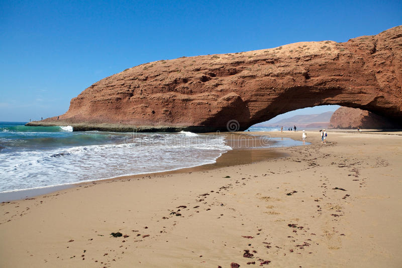 Praia Marrocos de Legzira imagens de stock royalty free