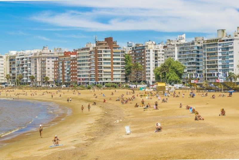Praia Montevideo Uruguai de Pocitos fotos de stock royalty free