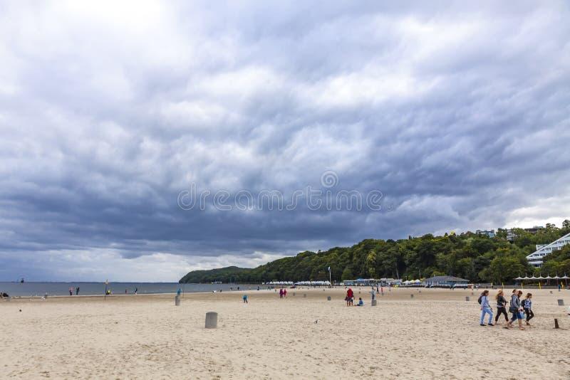 Praia municipal em Gdynia, mar Báltico, Polônia fotos de stock