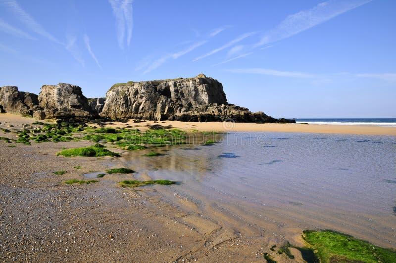 Praia na costa selvagem em Quiberon imagens de stock