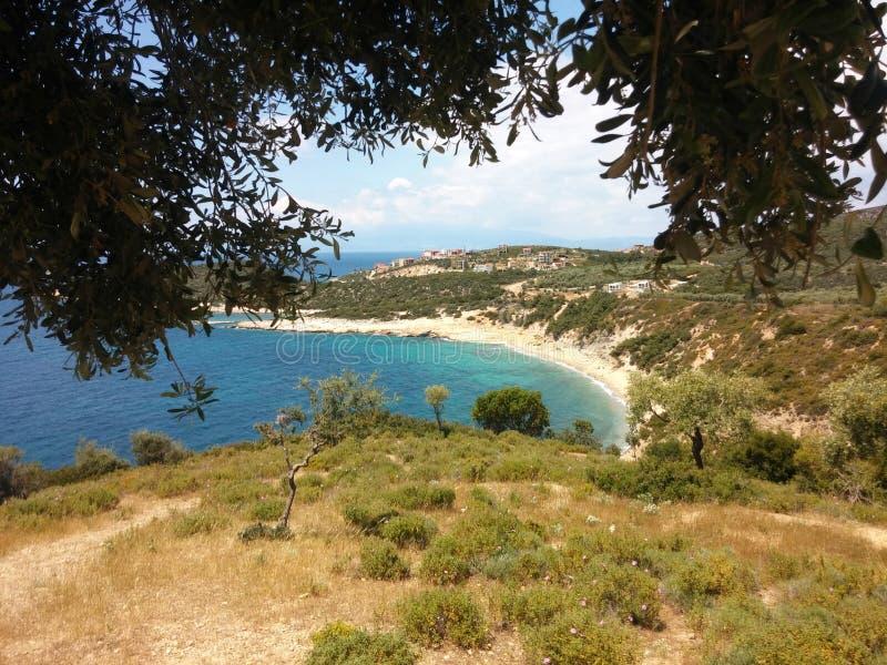 Praia na ilha Grécia de Thassos fotografia de stock