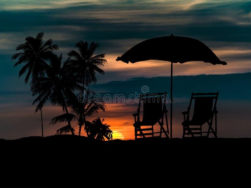 Praia na ilustração da cena do por do sol ilustração royalty free