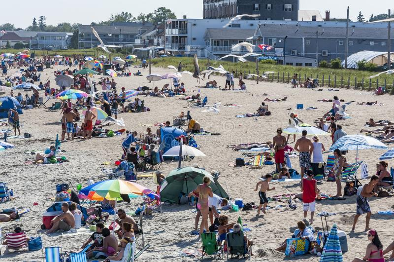 Praia na praia velha do pomar, Maine EUA foto de stock royalty free
