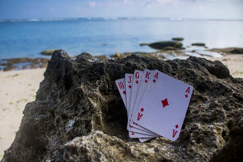 praia nivelada real do jogo do cartão do pôquer do diamante imagens de stock royalty free