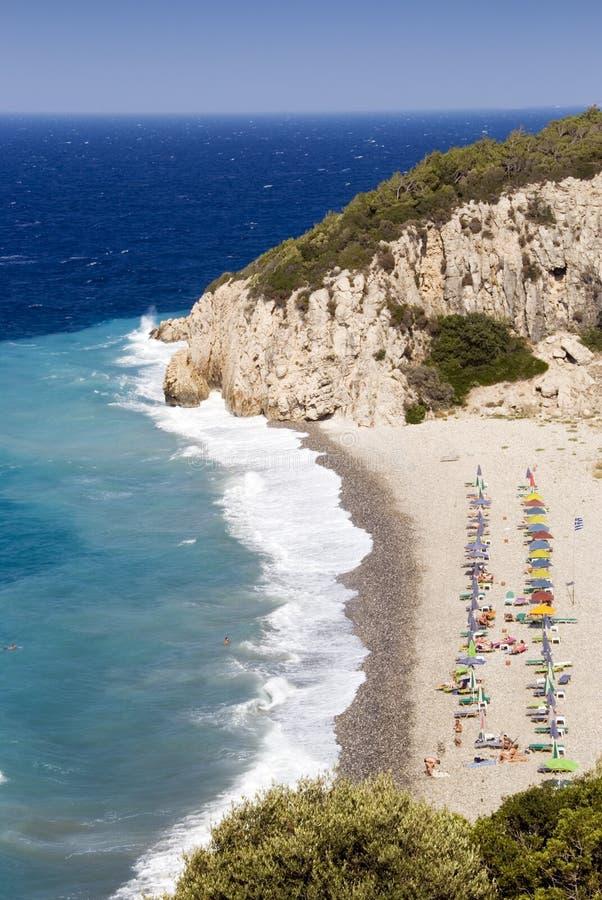 Praia no console de Samos imagem de stock royalty free