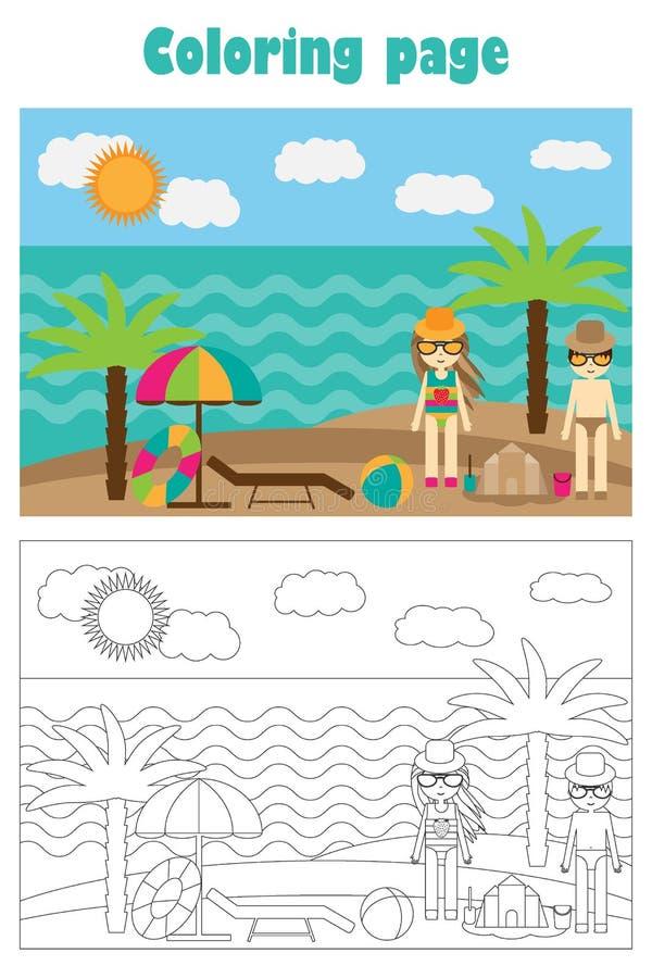 Praia no estilo dos desenhos animados, página do verão da coloração do verão, jogo do papel da educação para o desenvolvimento da ilustração do vetor