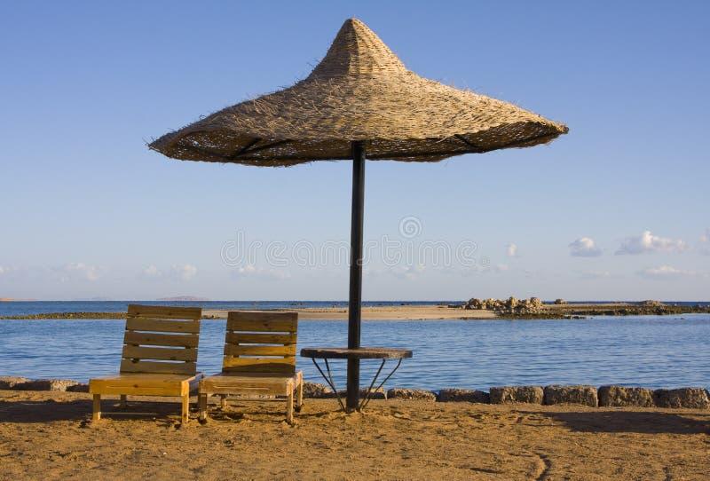 Praia no Mar Vermelho, Hurghada, Egipto imagem de stock