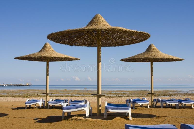 Praia no Mar Vermelho, Hurghada, Egipto fotos de stock