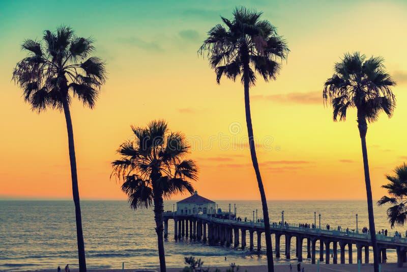 Praia no por do sol, Los Angeles de Califórnia, Califórnia fotografia de stock royalty free