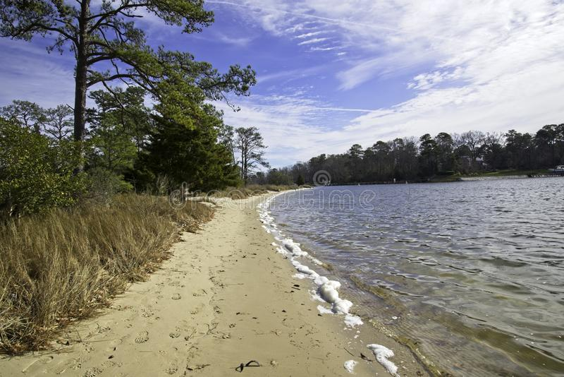 Praia no rio histórico Virginia Beach VA de Lynnhaven fotos de stock