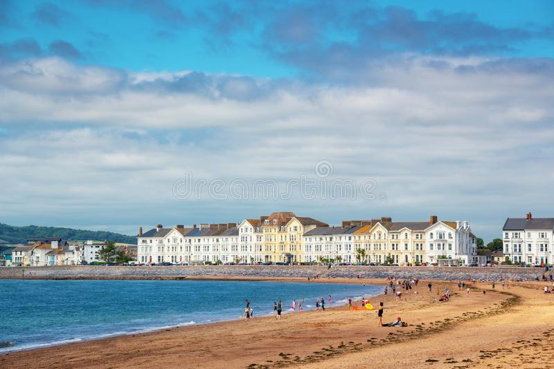 Praia no verão, Devon Reino Unido de Exmouth imagens de stock royalty free