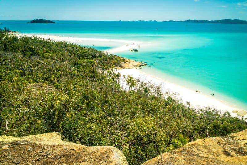 Praia nos domingos de Pentecostes, Queensland de Whitehaven, Austrália imagens de stock