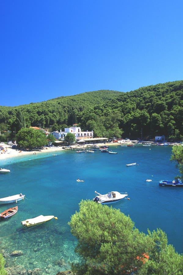 Praia nos skopelos, greece fotos de stock royalty free