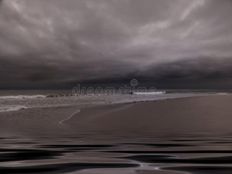 Praia nublado temperamental ilustração do vetor