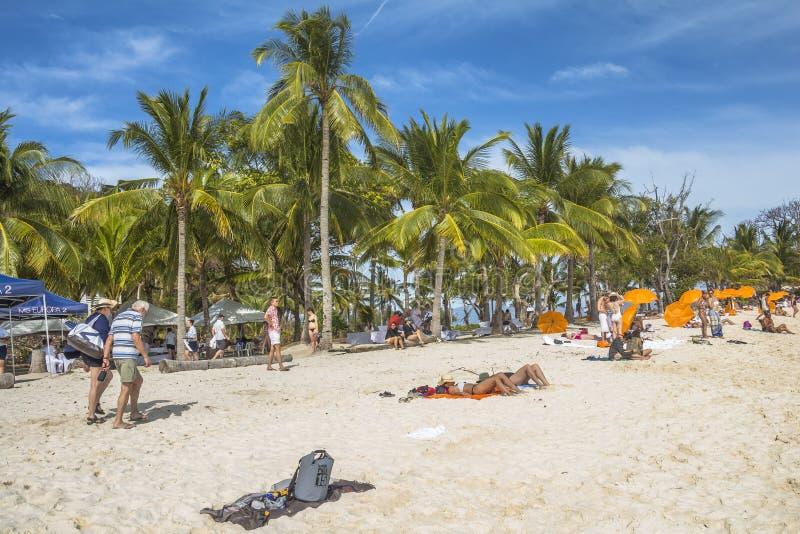 Praia perfeita do turista com as palmeiras na ilha filipino imagens de stock