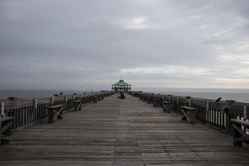 Praia Pier Top Side do insensatez fotos de stock royalty free