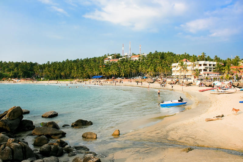 Praia principal em Kovalam, Kerala imagem de stock