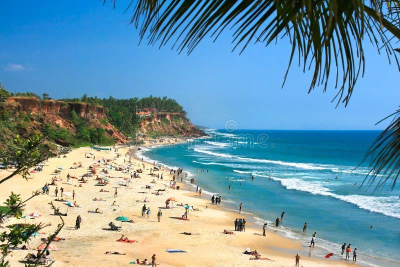 Praia principal em Varkala, Kerala fotos de stock