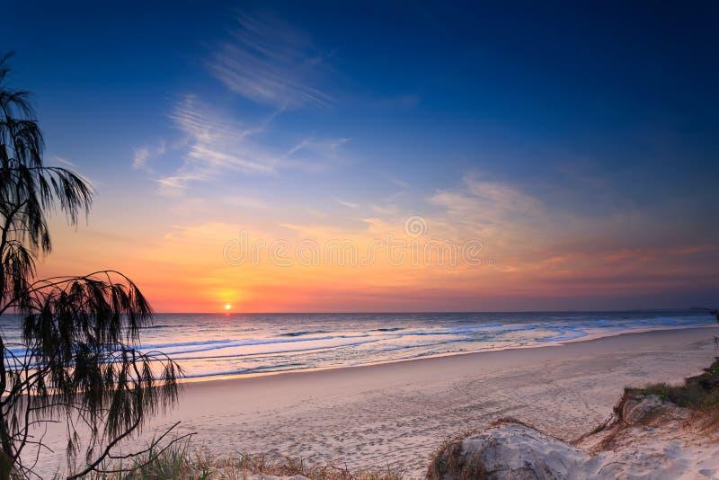 Praia principal no nascer do sol   (Queensland, Austrália) imagens de stock royalty free