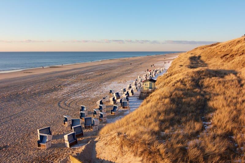Praia quieta do Mar do Norte imagens de stock