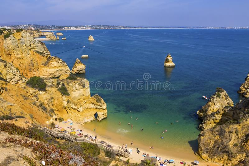 Praia robi Camilo plaży w Lagos, Algarve region, Portugalia obrazy royalty free