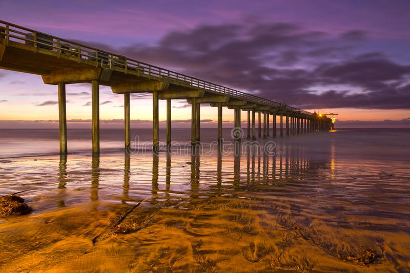 Praia San Diego California de Scripps Pier Sunset Colors La Jolla Shores fotografia de stock