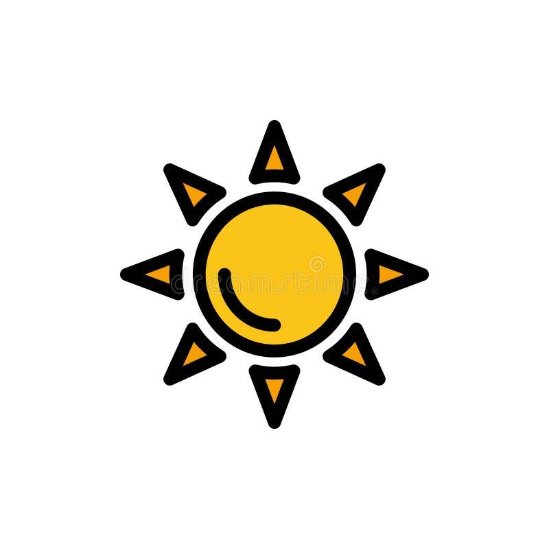 Praia, Shinning, ícone liso da cor de Sun Molde da bandeira do ícone do vetor ilustração royalty free