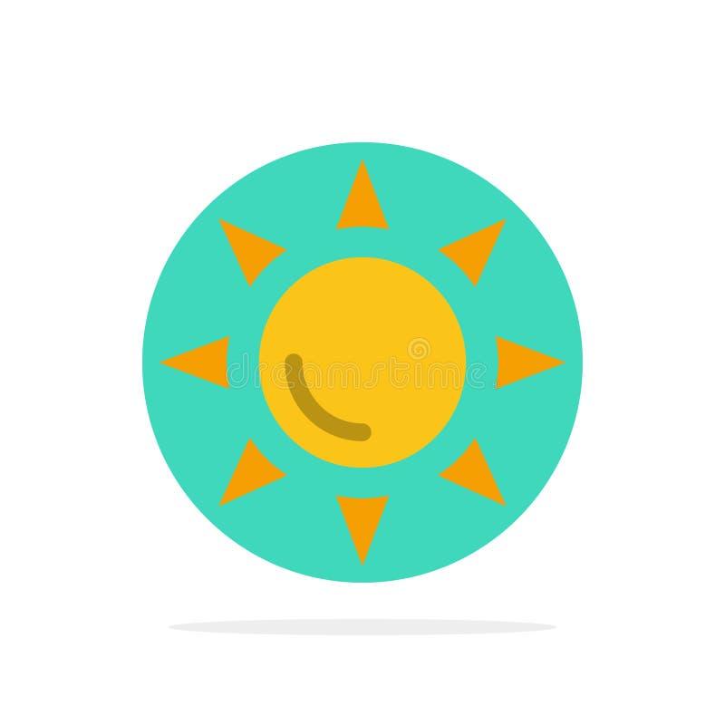 Praia, Shinning, do fundo abstrato do círculo de Sun ícone liso da cor ilustração stock