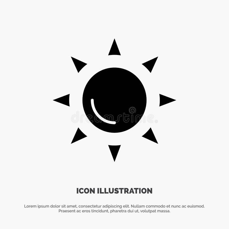 Praia, Shinning, vetor contínuo do ícone do Glyph de Sun ilustração do vetor