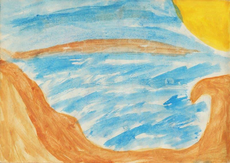Praia, sol, mar e ondas Crianças que tiram a aquarela ilustração royalty free
