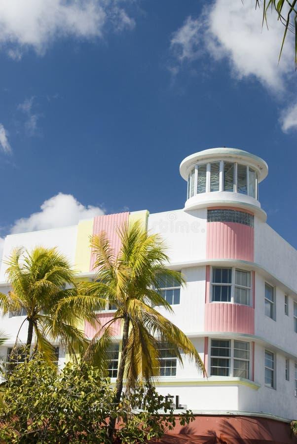 Praia sul miami do hotel do art deco fotos de stock