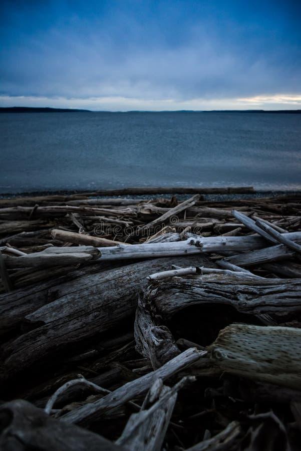 Praia trapezoide escura e fria em um por do sol do inverno na ilha de Whidbey, Washington, Estados Unidos imagens de stock