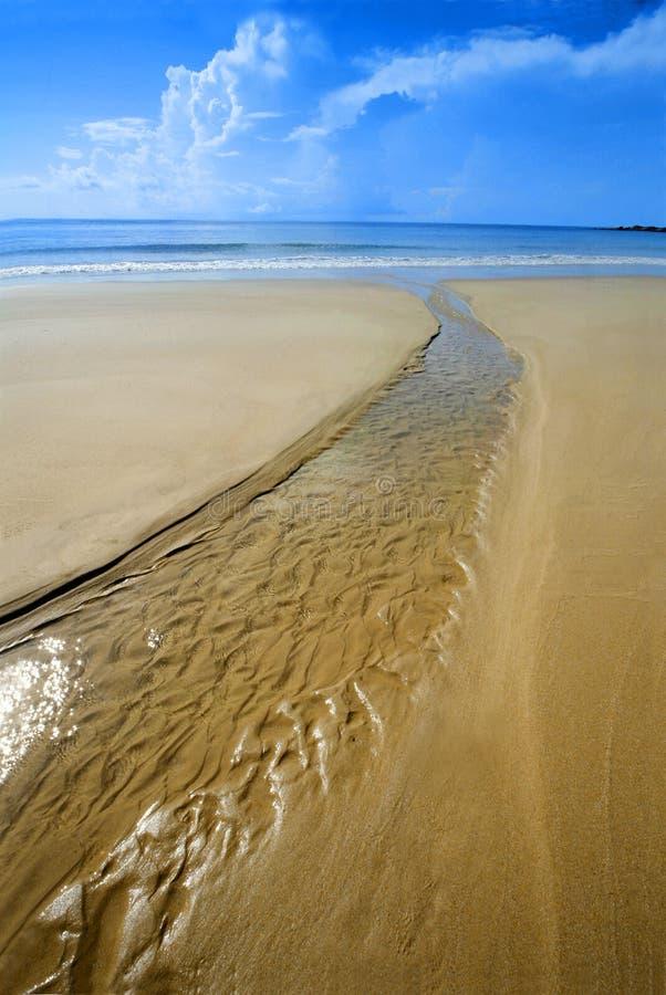 Praia tropcal ensolarada com córrego da água fotografia de stock royalty free