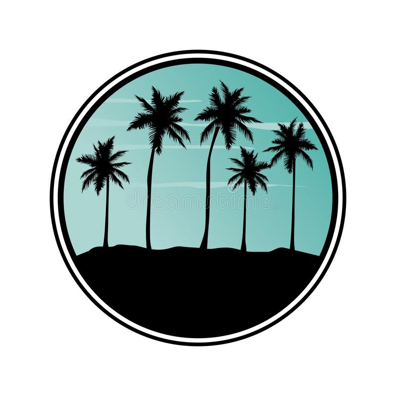 Praia tropica com árvores de palmas ilustração stock
