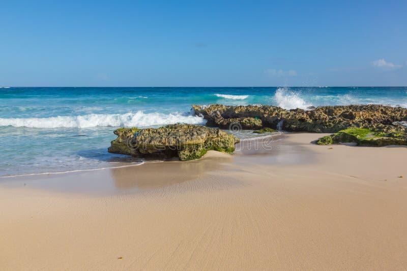 Praia tropical com areia e ondas foto de stock