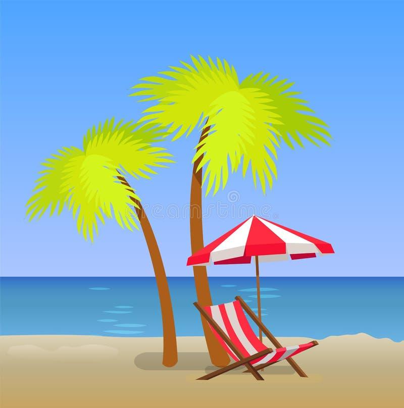 Praia tropical com Chaise Lounge Under Pam Trees ilustração do vetor