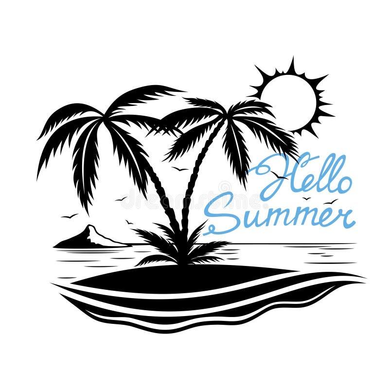 Praia tropical com palmeiras ilustração do vetor