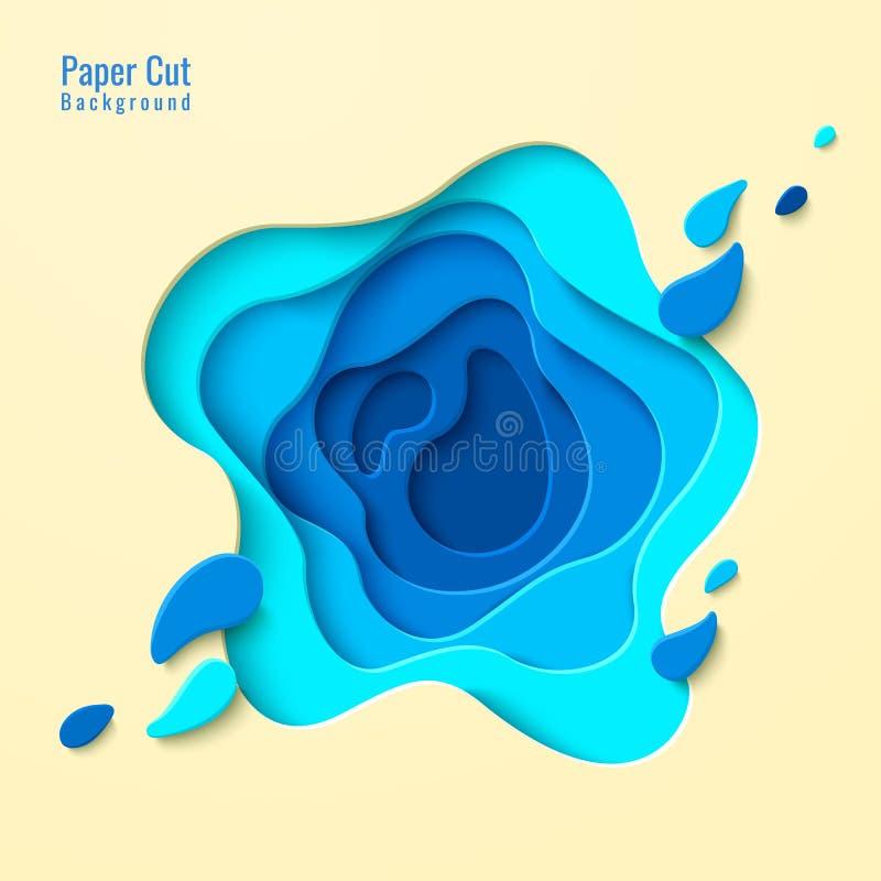 Praia tropical da opinião superior do vetor no estilo cortado de papel ilustração do vetor