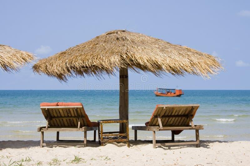 Praia tropical em Cambodia imagem de stock