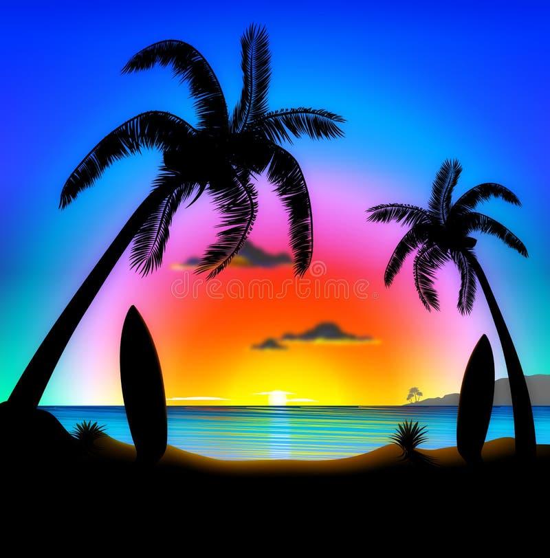 Praia tropical na ilustração surfando do por do sol ilustração royalty free