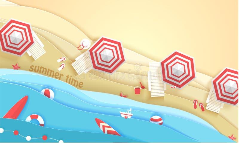 Praia tropical no estilo de papel da arte Ilustração do corte do papel da opinião superior do vetor Molde do cartaz do conceito d ilustração stock